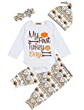 Baby Thanksgiving Outfit Newborn Boy Girl Letter Print Romper Turkey Print Pant with Hat Clothes Set 0-3 Mo
