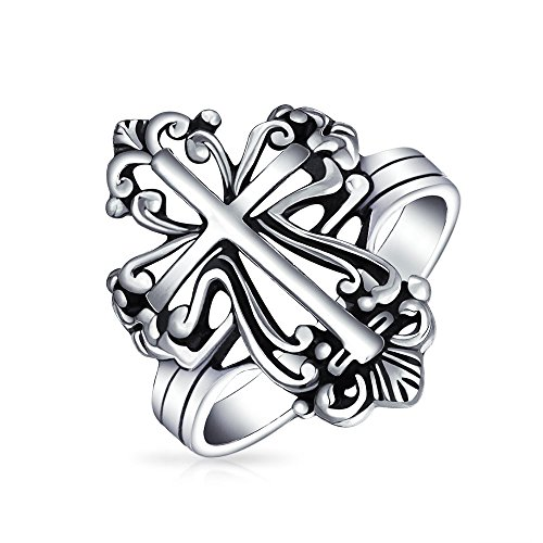 (Vintage Style Christian Religious Fleur De Lis Cross Ring For Women For Men Oxidized 925 Sterling)