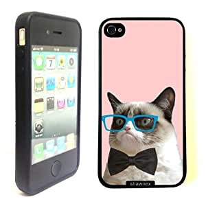 iPhone 4 4S Case ThinShell TPU Case Protective iPhone 4 4S Case Shawnex Hipster Grumpy Cat Geek Glass Bowtie