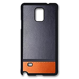 Gray and Orange Leather Protective Hard PC Snap On Case for Samsung Galaxy Note 4 -1122015
