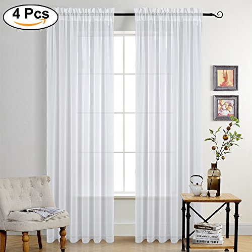 PONY DANCE White Semi-Sheer 84″ – Elegant Curtains Rod Pocket Privacy Faux Linen Natural Textured Sheer Curtain Drapes for Living Room/Patio Door/Sliding Door, W 55″ x L 84″, 4 Pieces