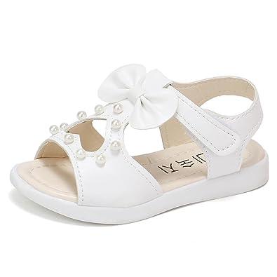 2eebb9d8a3d16 OHQ Les Enfants D éTé Perle Aiment Bow Sandales Chaussures de Plage Rome  Rose Vif
