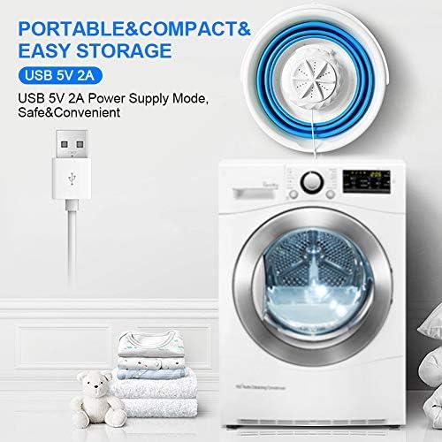 SGQCAR Mini Turbo Washing Machine,Portable Folding Washing Machine,USB Portable Washing Machine with Foldable Tub for Apartments Dorms RV Trip 6W