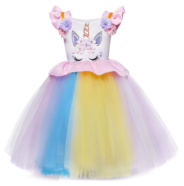 Flower Girl Unicorn Tutu Dress Kids Princess Gown Pageant Birthday Fancy Costume