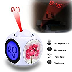 Projection Alarm Clock Wake Up Bedroom with Data and Temperature Display Talking Function, LED Wall/Ceiling Projection,Customize the pattern-808.Vintage, Background, Flower, Pink