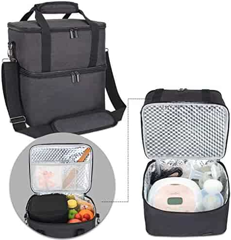 699624a60de88 Luxja Breast Pump Bag with 2 Insulated Compartments for Breast Pump and  Cooler Bag