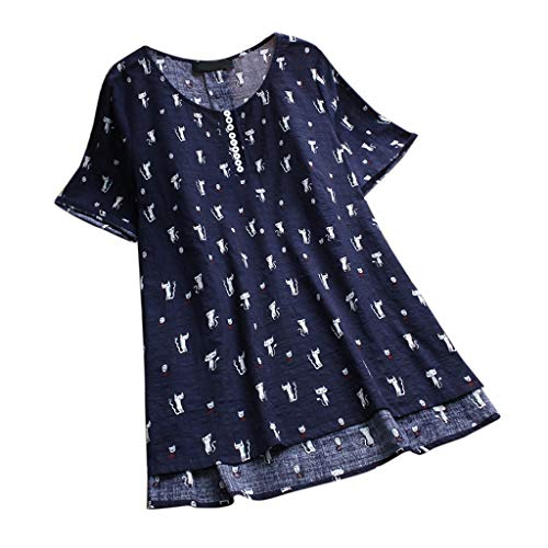 JOFOW Shirts Womens Short Sleeve Solid Lace Pleated Hem Patchwork Boho Flowers Print Blouse Crew Neck Cotton Linen Loose Tops (2XL,Navy)