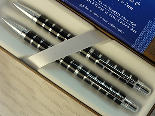 Cross Classic Executive Companion Black Barrel with Silver Stripes Pen and 0.7mm Pencil.
