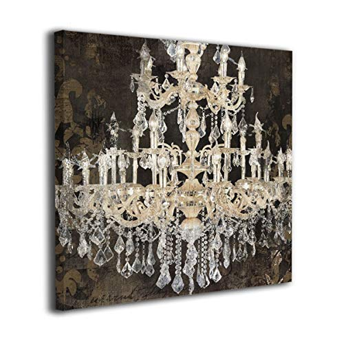 """Maxwellmore Crystal Chandelier Painting Pictures Prints Wall Art Original Canvas Prints Framed Ready to Hang for Home Decoration 20""""x20"""""""