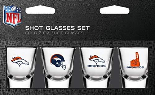 PSG, NFL Denver Broncos Shot Glass Set4 Pack Shot Glass Set, Team Colors, One Size