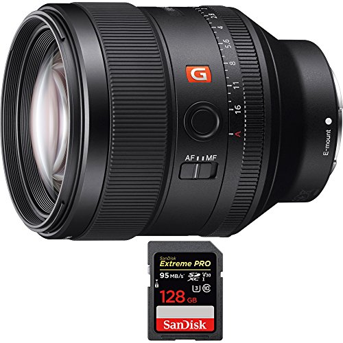 Price comparison product image Sony FE 85mm F1.4 GM Full Frame E-Mount Lens (SEL85F14GM) with Sandisk Extreme PRO SDXC 128GB UHS-1 Memory Card,  Up to 95 / 90MB / s Read / Write Speed
