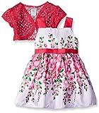 Youngland Girls' Floral Border Print Shantung Dress with Crochet Cardigan