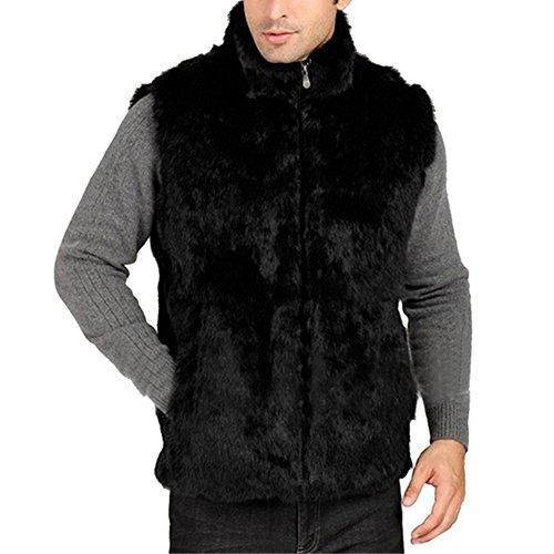 SPRINGWIND Men's Rabbit Fur Hoodie Warm Vest Sleeveless Coat Winter Jacket