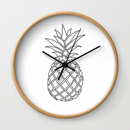 Pineapple Wall Clock With Natural Wood Frame