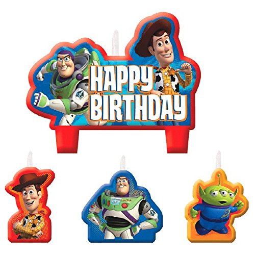 Amscan Toy Story Power Up Birthday Party Molded Character Candle Decoration Set (4 Pack), 4.8