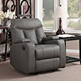 Maywood Wall Hugger Storage Arm Recliner, Taupe Synthetic Leather
