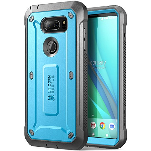 LG V30 Case, SUPCASE Full-body Rugged Holster Case with Built-in Screen Protector for LG V30, LG V30s,LG V35,LG V35 ThinQ,LG V30 Plus 2017 Release, Unicorn Beetle PRO Series(Blue/Gray) by SUPCASE