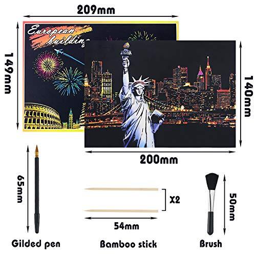 Koogel Kratzbilder, 16 Baltt 200 x 140 mm Scratch Paiting Paper Architektur Wandbild DIY Beschichtete Bunte Kratzpapier mit Werkzeug Set