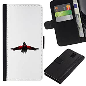 All Phone Most Case / Oferta Especial Cáscara Funda de cuero Monedero Cubierta de proteccion Caso / Wallet Case for Samsung Galaxy Note 3 III // The Crow Raven