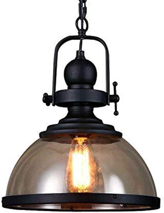 Lámpara Colgante Retro Industrial Redonda Diseño de la Pantalla de Cristal Lámpara Colgante de Hierro de la Vendimia E27 Mesa de Comedor Lámpara Colgante rústica Barra de Bar Lámpara de Techo Ø31cm