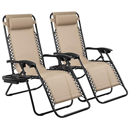 Devoko Patio Zero Gravity Chair Outdoor Adjustable Folding Lounge Chairs Pool Side Using Reclining Lawn Chair with Pillow and Tray Holder Set of 2 (Beige)
