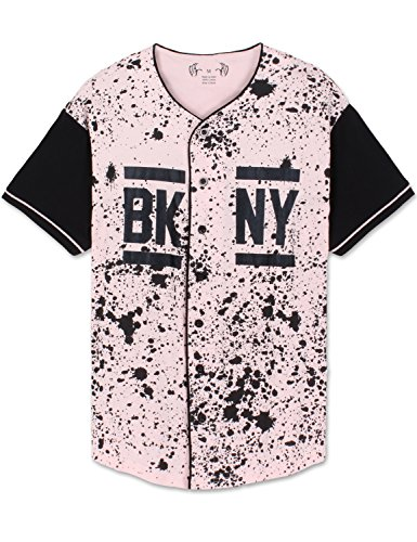 Mens Hipster Button-Down Brooklyn New York Baseball Jersey T-Shirt Pink Large