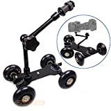SHOPEE NEW Black DSLR Skater Wheel Camera Truck Top Dolly Kit +7' Articulate Magic Arm
