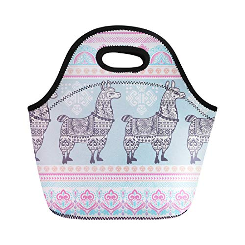 (Semtomn Neoprene Lunch Tote Bag Pattern Cute Alpaca Llama Animal Ethnic Ornaments Drawing Lama Reusable Cooler Bags Insulated Thermal Picnic Handbag for Travel,School,Outdoors, Work)