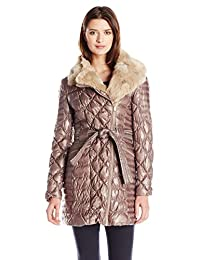 Via Spiga Women's Diamond Quilted Down Coat with Asymmetrical Zip and Faux Fur