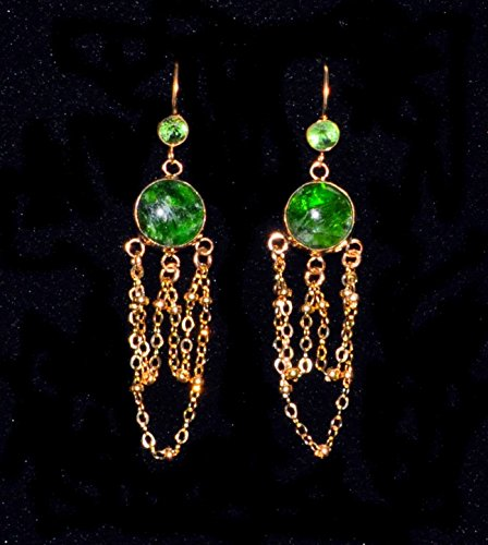 Gold And Emerald Cabochon Ring (CHROME DIOPSIDE, FACETED PERIDOT, AND GOLD-FILLED CHANDELIER EARRINGS)