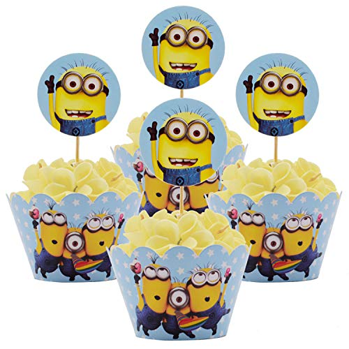 Betop House Minion Despicable Me Themed Boys Girls 1st Birthday Party Kids Gathering Baby Shower Halloween Decorative Wrappers and Toppers Kit -