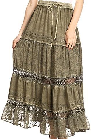 Sakkas 5062 - Salina Boho Maxi Skirt with Embroidery and Crochet Lace Adjustable Waist - Olive - XL ()