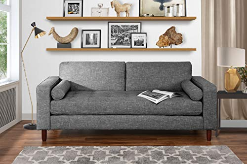 Modern Fabric Sofa with Tufted Linen Fabric - Living Room Couch (Light Grey)