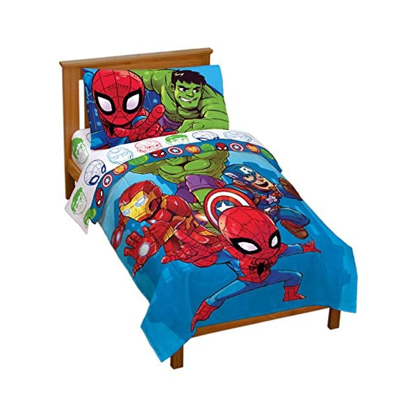 Jay Franco Marvel Avengers Heroes Amigos 4 Piece Toddler Bed Set – Super Soft Microfiber Bed Set – Bedding Features Captain America, Hulk, Iron Man, and Spiderman (Official Marvel Product) 1
