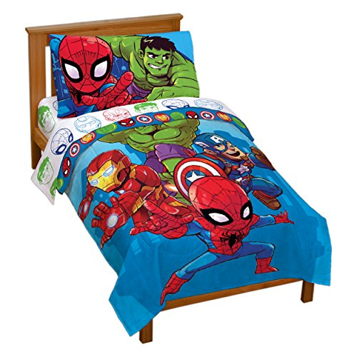 Jay Franco Marvel Avengers Heroes Amigos 4 Piece Toddler Bed Set – Super Soft Microfiber Bed Set – Bedding Features Captain America, Hulk, Iron Man, and Spiderman (Official Marvel Product)