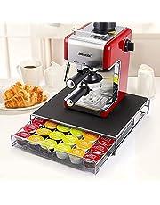 YONGWANG Kaffekapselhylla, Dolce Gusto kapsellåda och maskinstöd, rullkaffekapslar lådhylla som kan hålla 36 kapslar (platt) och upp till 60 (sidle) kapselhållare.