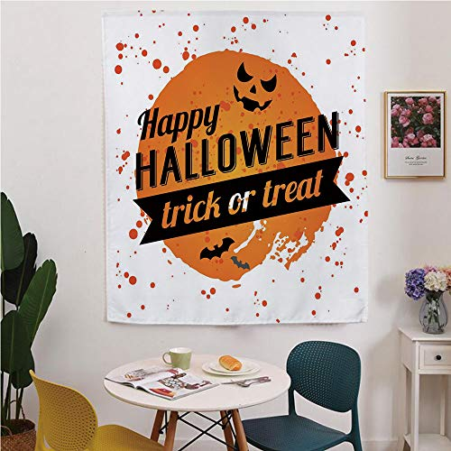 Halloween Blackout Window Curtain,Free Punching Magic Stickers Curtain,Happy Halloween Trick or Treat Watercolor Stains Drops Pumpkin Face Bats,for Living Room,Study, Kitchen, Dormitory, -