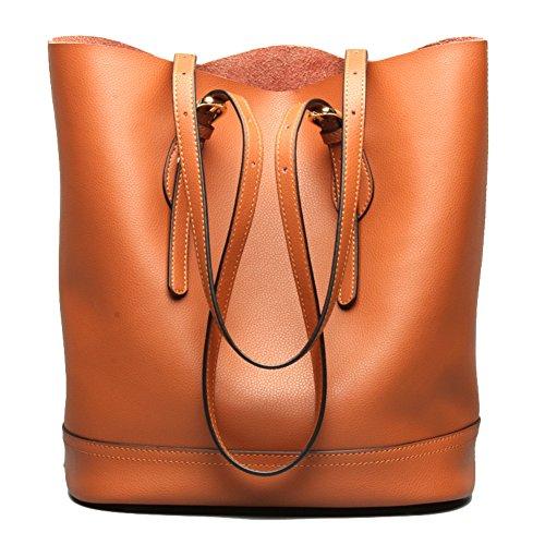 Genuine Leather Backpack Bag Handbag - wanture Women's Handbag Genuine Leather Tote Shoulder Bucket Bags Elegant Style Large Capacity (Brown)