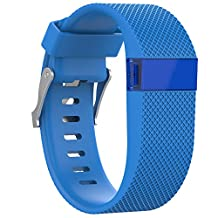 Watch Band, ABC Replacement Silicone Band Rubber Wristband Strap for Fitbit Charge HR (Small) (Sky blue)