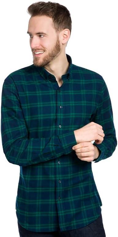ALLBOW Camisa Franela Hombre con Parches a Cuadros Verde Azul, Manga Larga, M: Amazon.es: Ropa y accesorios