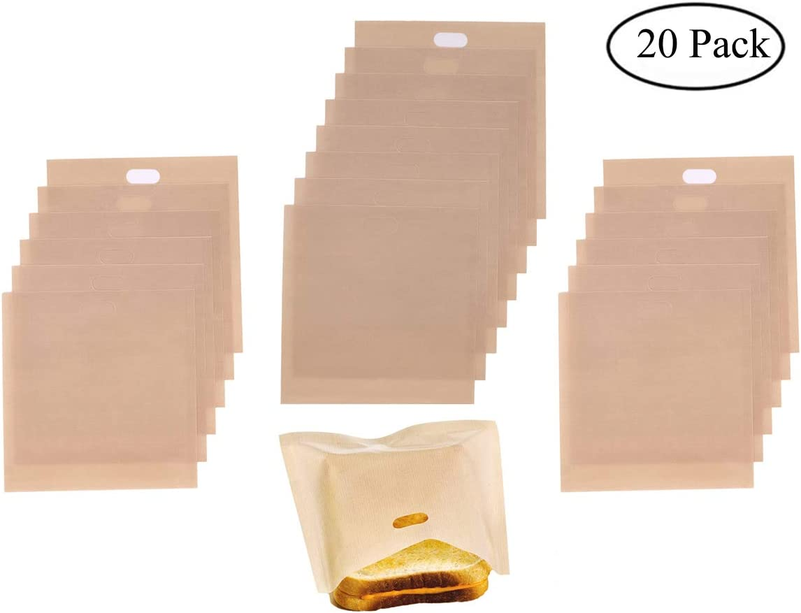 Homezal 6 Pack Non Stick Reusable Toaster Bags 2 Different Sizes Gluten Free,