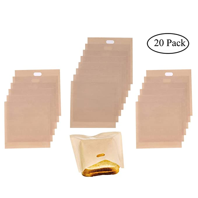20 Pack Non Stick Toaster Bags, Homezal 3 Different Sizes Toaster Grilled Cheese Bags, Gluten Free, FDA Approved, Perfect for Sandwiches, Pastries, ...
