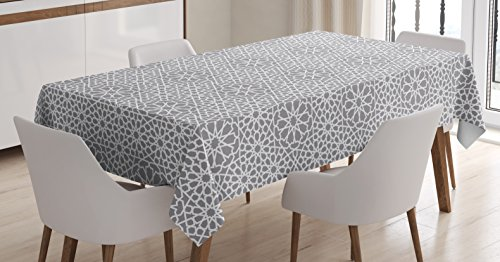 Lunarable Grey Abstract Tablecloth, Eastern Moroccan Star Ornament with Traditional Grid Design Persian Tile, Dining Room Kitchen Rectangular Table Cover, 60 W X 84 L inches, Grey and White
