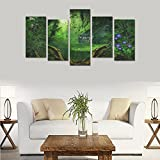Custom Custom Oil Painting Print Fantasy house forest flowers Canvas Print Bedroom Wall Canvas Decoration Hotel Fashion Design Wall Art 5 Piece Oil Paintings Canvas (No Frame)