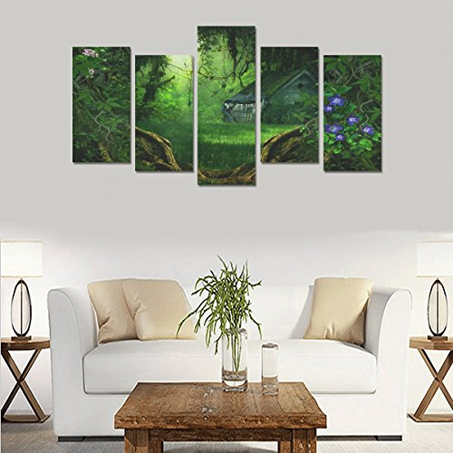 Custom Custom Oil Painting Print Fantasy house forest flowers Canvas Print Bedroom Wall Canvas Decoration Hotel Fashion Design Wall Art 5 Piece Oil Paintings Canvas (No Frame) by sentufuzhuang Canvas Printing