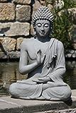 Stone-Lite Bo 817XL Statuette Bouddha assis geste de la main Gris clair