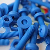 20 x Blue Philips Pan Head Screws Polypropylene (PP) Plastic Nuts and Bolts, Washers, M4 x 20mm, Acrylic, Water Resistant, Anti-Corrosion, Chemical Resistant, Electrical Insulator, Strong.