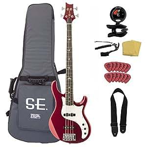 prs se kestrel ke4rm electric bass guitar bundle with se gig bag red metallic. Black Bedroom Furniture Sets. Home Design Ideas
