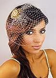 Leslie Li Bridal Birdcage Veil & Gold Crystal Pearl Brooch One Size Ivory 27-30940