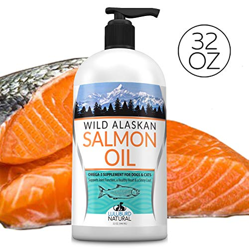 Wild Alaskan Salmon Oil for Dogs, Cats, Ferrets, Horses - Supports, Skin & Coat, Joint Function, Immune & Heart Health, Omega 3 Liquid Supplement for Pets - All Natural EPA + DHA Fatty Acids, 32 FL OZ